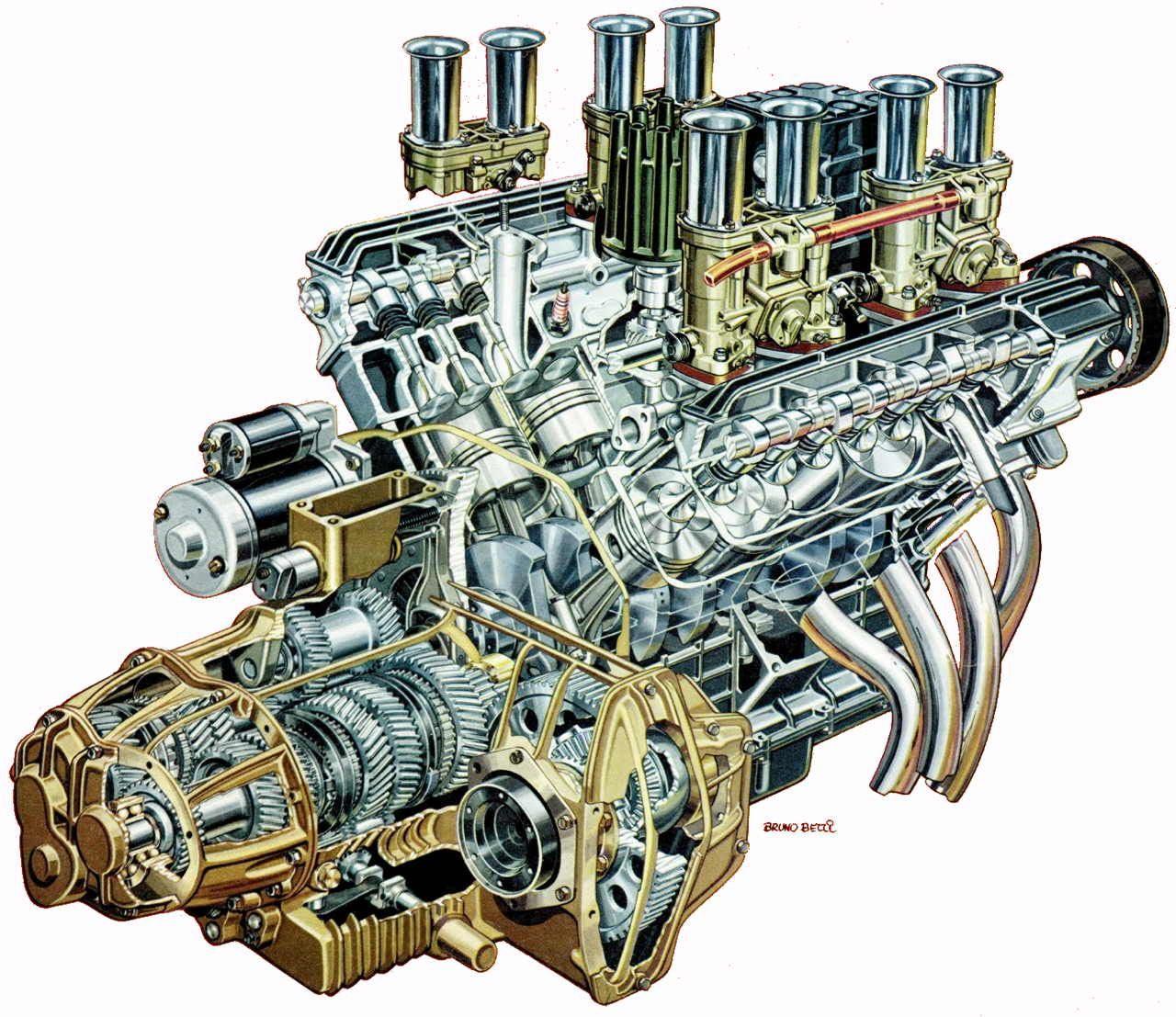 V8 Engine Cutaway Drawing In High Quality